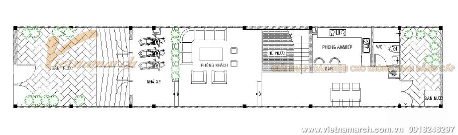 Thiết kế mặt bằng tầng 1 cho nhà lô phố 3 tầng hiện đại