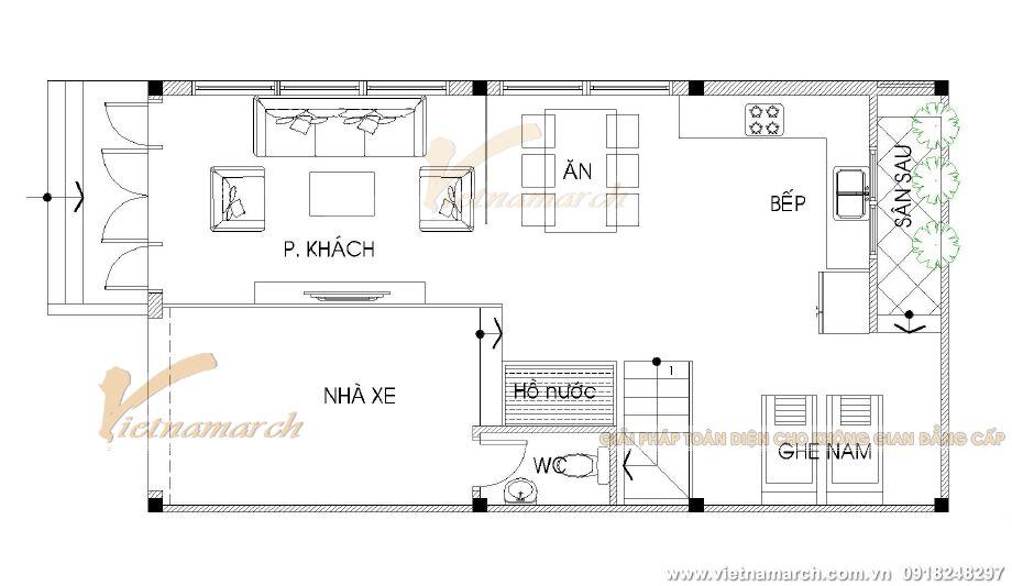thiết kế tầng 1 nhà lô phố đẹp 4 tầng tại Thái Bình