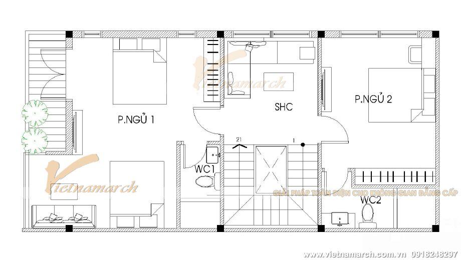Thiết kế mặt bằng tầng 3 nhà lô phố hiện đại 4 tầng tại Thái Bình
