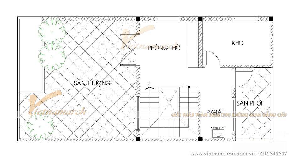 Thiết kế mặt bằng tầng 4 nhà lô phố hiện đại 4 tầng tại Thái Bình