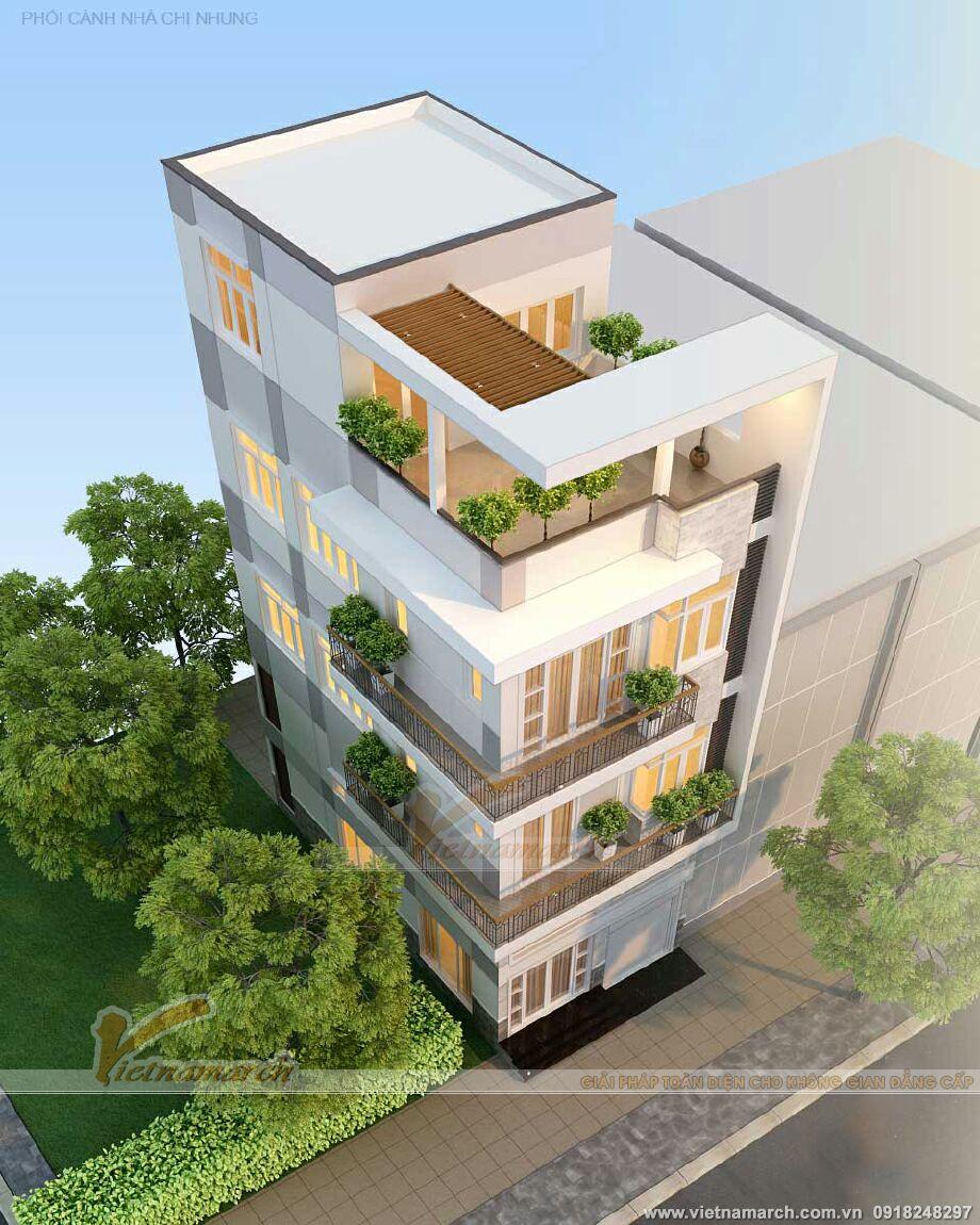 Thiết kế nhà lô phố hiện đại 4 tầng tại Thái Bình