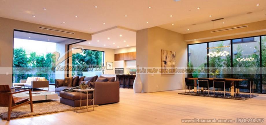Toàn cảnh không gian phòng khách, bếp và nhà ăn