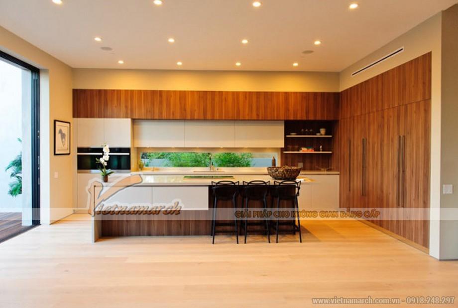 Phòng bếp nấu cực kì thân thiện với hệ tủ bếp gỗ cao cấp