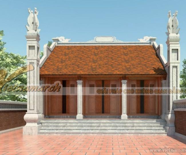 """Thiết kế nhà thờ họ nhà Bác Lương tại Hà Nam nhà mặt bằng chữ """"Đinh"""""""