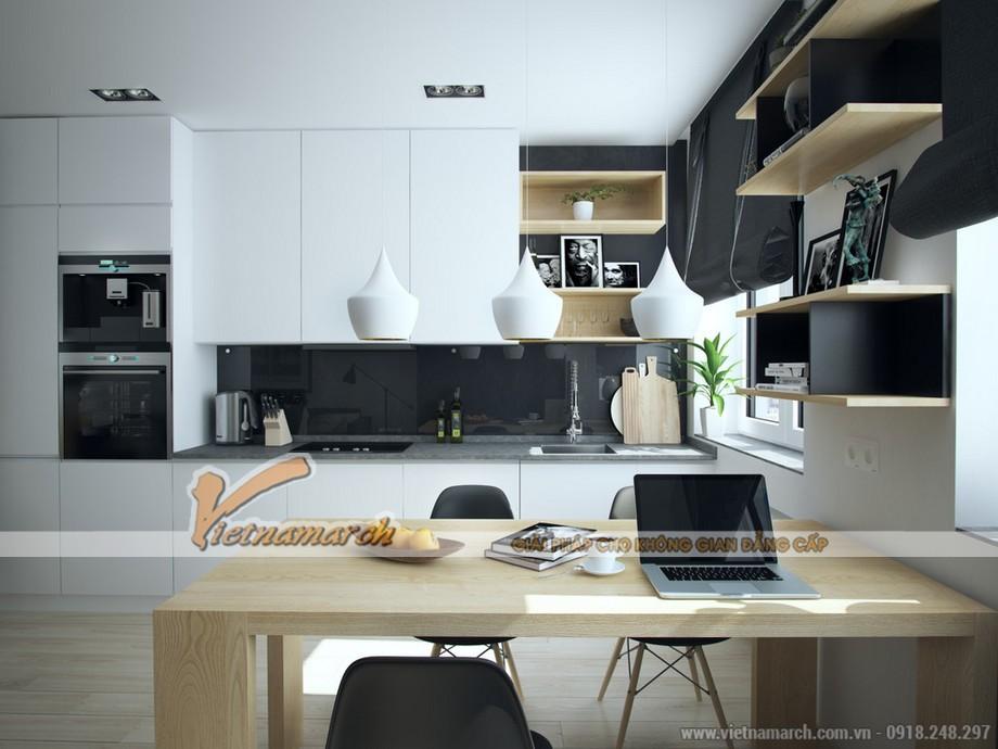 Thiết kế nội thất phòng bếp hiện đại với tông màu trắng đen