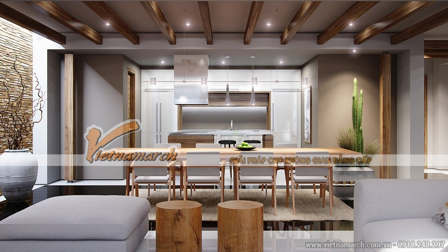 thiết kế phòng bếp ấm cũng của căn hộ 03 park 8