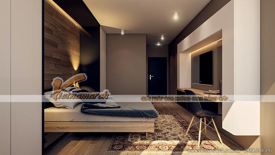 Phòng ngủ ấm áp với tông màu ấm của căn hộ 04 park 8
