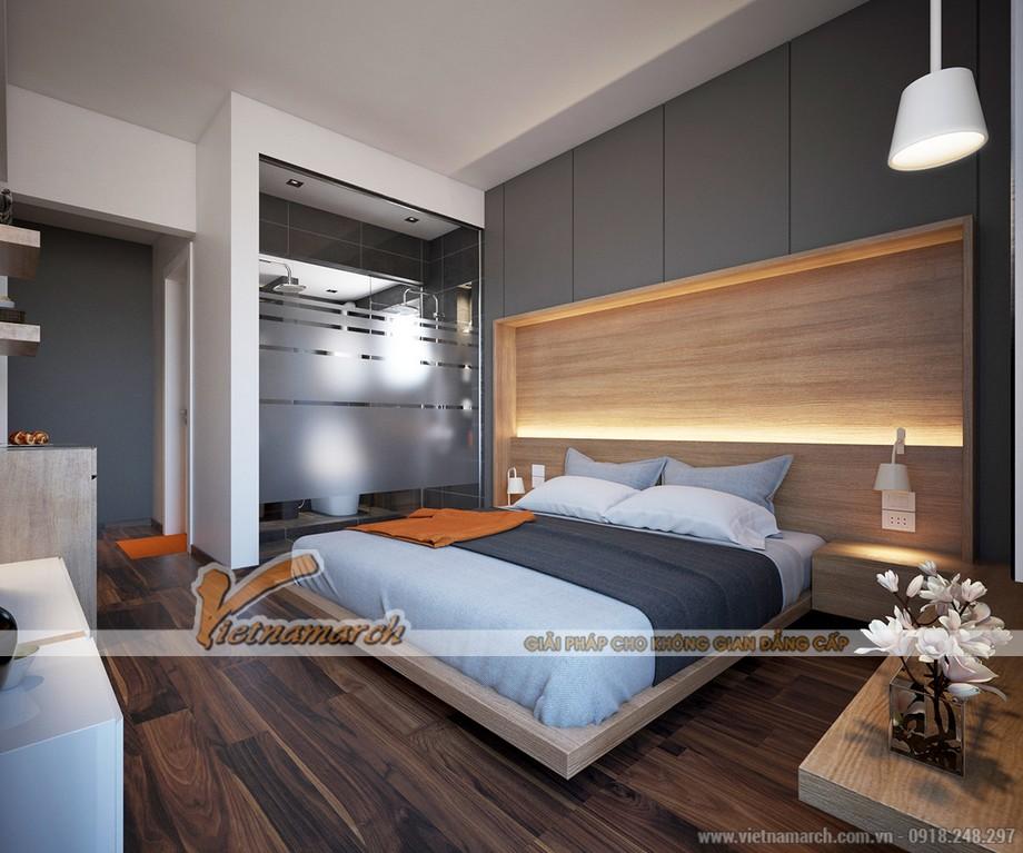 thiết kế phòng ngủ hiện đại với tông màu nâu ấm