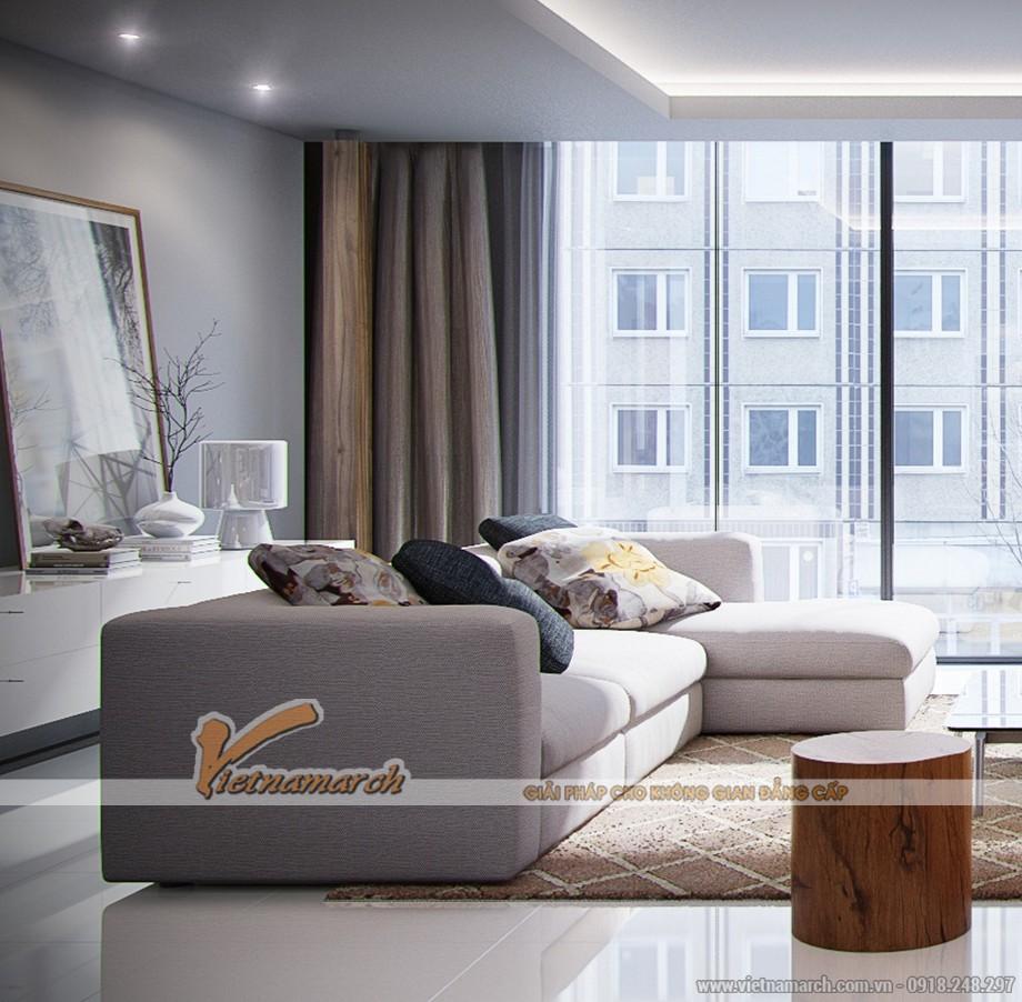 thiết kế của kính lớn đón sáng cho phòng khách căn hộ 03 park 8