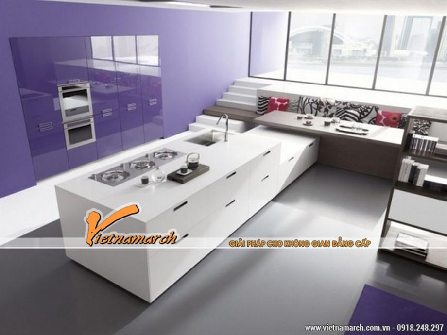 Phòng bếp thiết kế theo sắc tím tinh tế