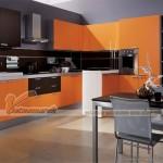Tủ bếp cao cấp màu cam trẻ trung cá tính cho nhà chung cư, nhà phố hiện đại