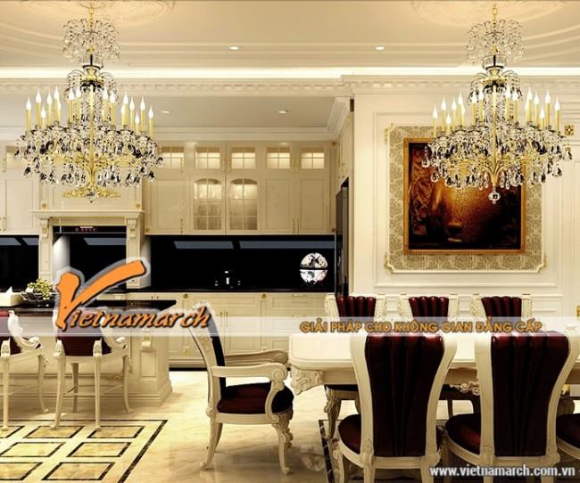 Phòng bếp đẹp sang trọng hơn với trần thạch cao cổ điển