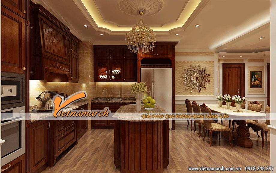 Sự kết hợp hài hà giữa trần thạch cao cổ điển và nội thất tân cổ điển, mang ại một vẻ đẹp thanh lịch, tươi mới cho phòng bếp
