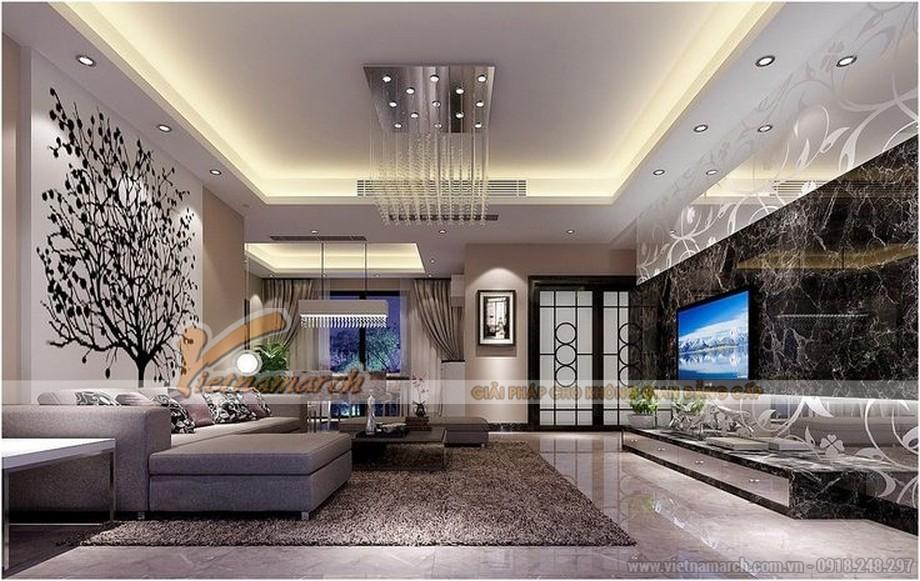 Thiết kế mẫu trần thạch cao đẹp lung linh cho nhà anh Toàn- Hưng Yên-01
