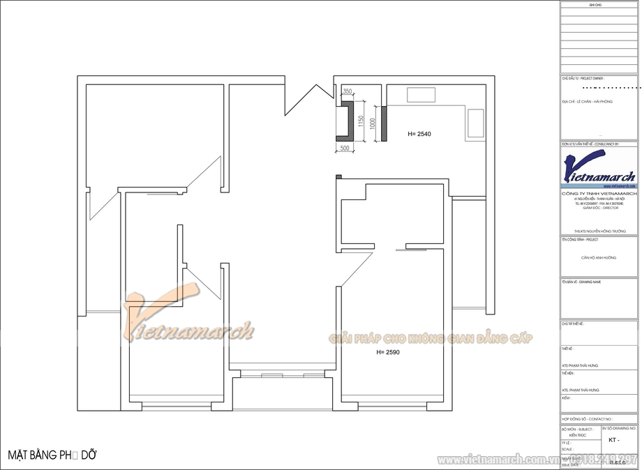 Thiết kế nội thất chung cư Hòa Bình Green City nhà anh Hưởng
