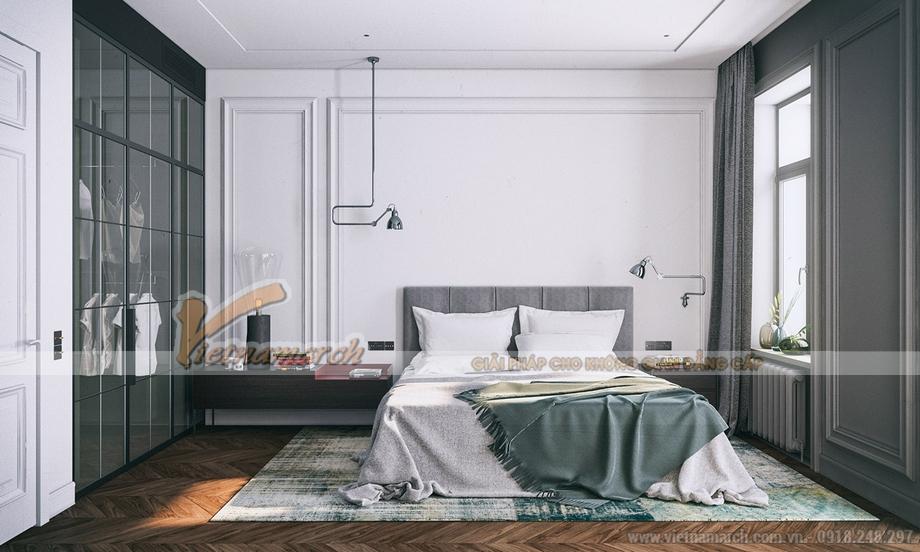 Phòng ngủ có đôi nét đương đại bởi cách lựa chọn tone màu