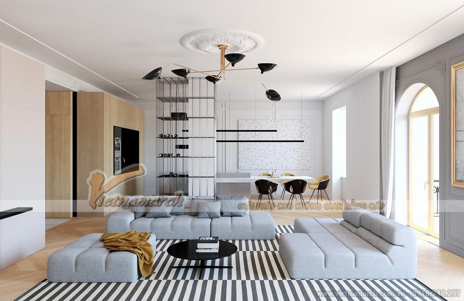Thiết kế nội thất căn hộ cao cấp WaterFront City hiện đại pha nét cổ điển