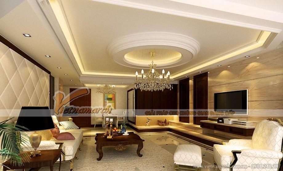 Phòng khách tại chung cư D'.Palais de Louis - Tân Hoàng Minh đẹp sang trọng với trần thạch cao cổ điển-