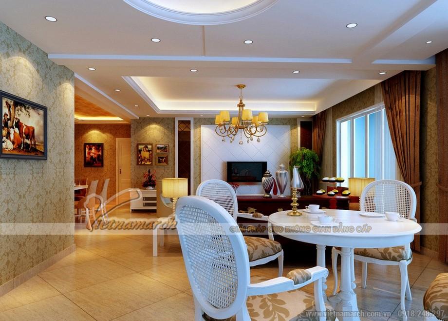 Phòng khách tại chung cư D'.Palais de Louis - Tân Hoàng Minh đẹp sang trọng với trần thạch cao cổ điển
