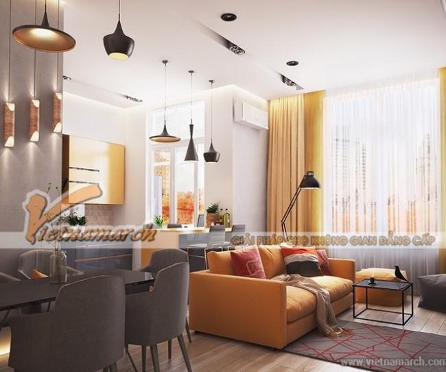 Thiết kế nội thất phòng khách với màu vàng giúp ấn tượng, nổi bật hơn