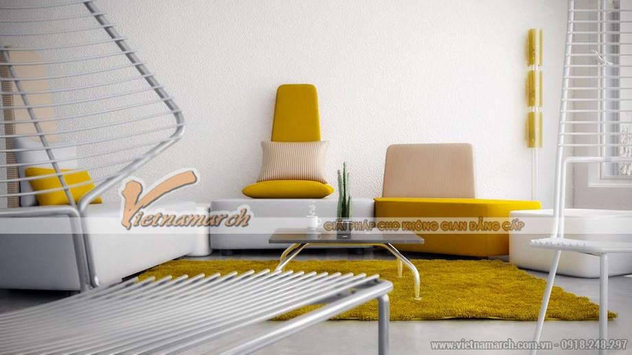 Màu vàng xuất hiện nhiều hơn ở những đồ nội thất chính.
