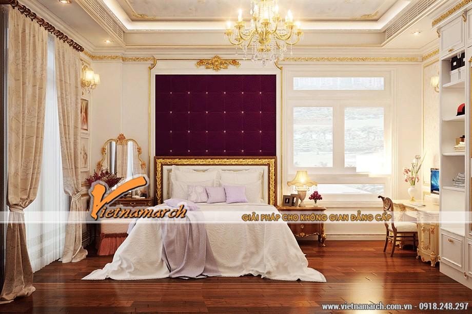 Phòng ngủ quyến rũ với trần thạch cao cổ điển
