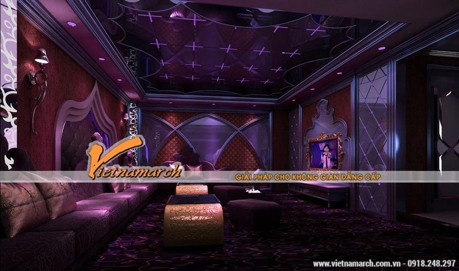 Những gam màu đẹp của các mẫu trần thạch cao hiện đại dùng trong quán Karaoke-04