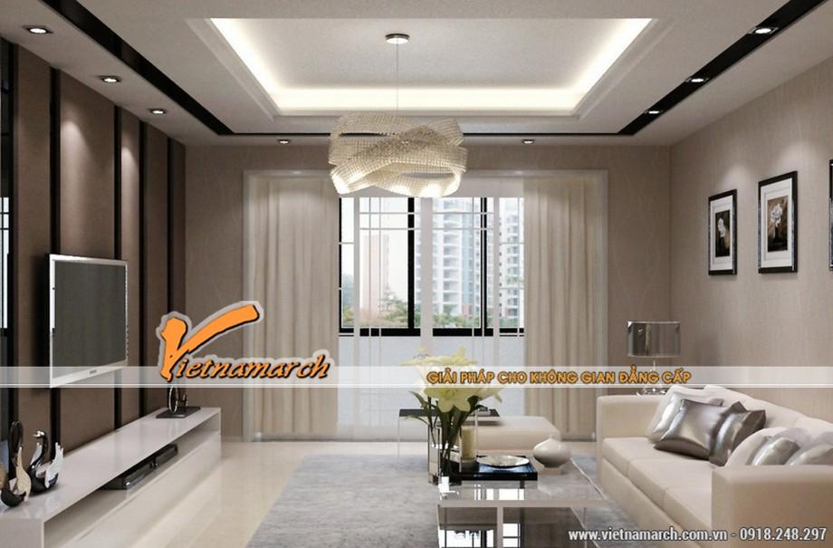 mẫu trần thạch cao cho không gian phòng khách của gia đình anh Minh - 01