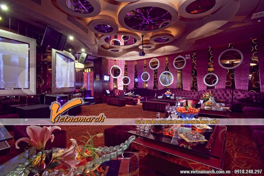 Những gam màu đẹp của các mẫu trần thạch cao hiện đại dùng trong quán Karaoke-01