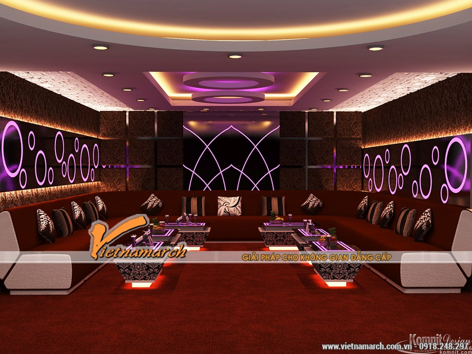 Những gam màu đẹp của các mẫu trần thạch cao hiện đại dùng trong quán Karaoke-03