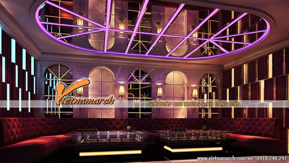 Những gam màu đẹp của các mẫu trần thạch cao hiện đại dùng trong quán Karaoke-02