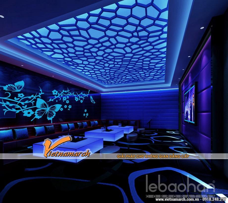 Những gam màu đẹp của các mẫu trần thạch cao hiện đại dùng trong quán Karaoke-06