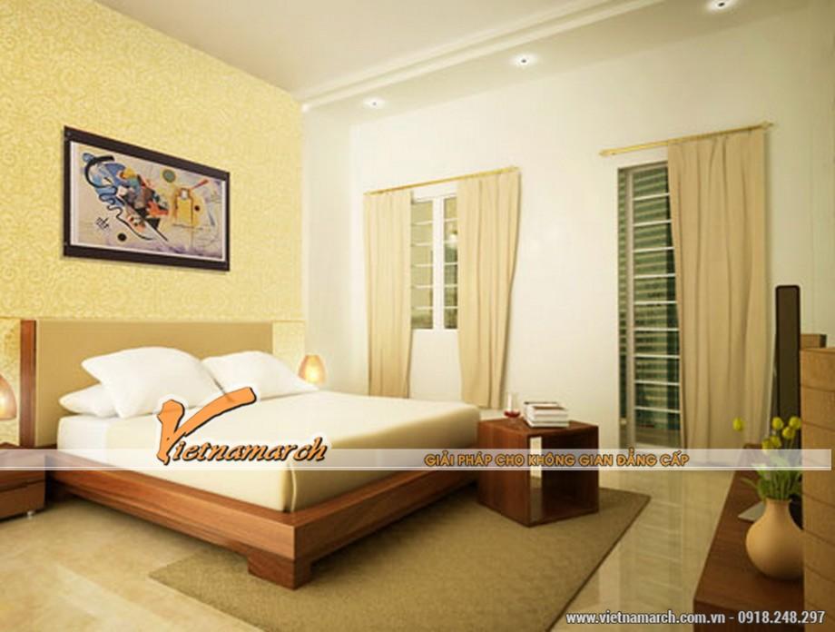 Thiết kế trần thạch cao cho phòng ngủ đơn giản mà không kém phần hiện đại.