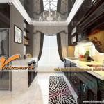 Không gian bếp ăn tại chung cư Royal City lung linh hơn với trần thạch cao cổ điển