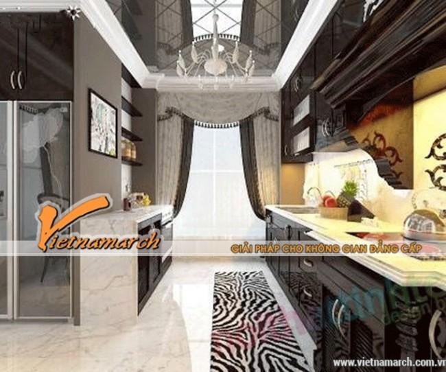 Phòng bếp đẹp và sang trọng với trần thạch cao cổ điển
