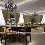 Mẫu trần thạch cao giật cấp đẹp lung linh cho căn hộ chung cư D'.Le Roi Soleil Quảng An nhà anh Kiên