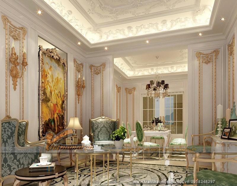 Phòng khách sang trọng hơn với trần thạch cao cổ điển