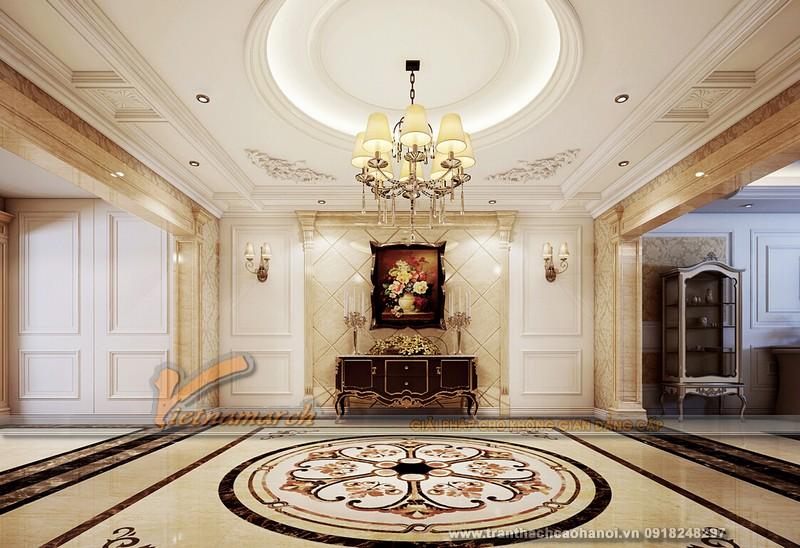 Trần thạch cao cổ điển mang đến sự thanh lịch và sang trọng cho không gian phòng khách