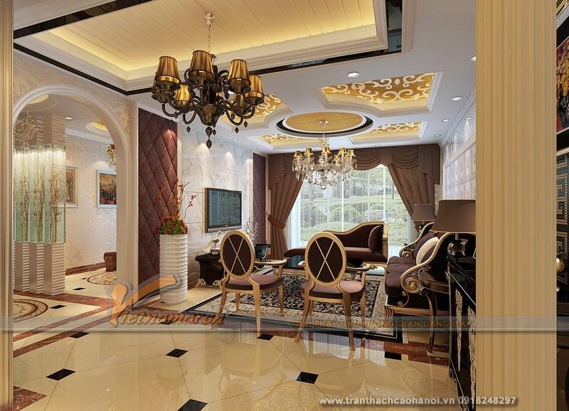 Sự đồng nhất trần thạch với nội thất khiến phòng khách càng lung linh thêm