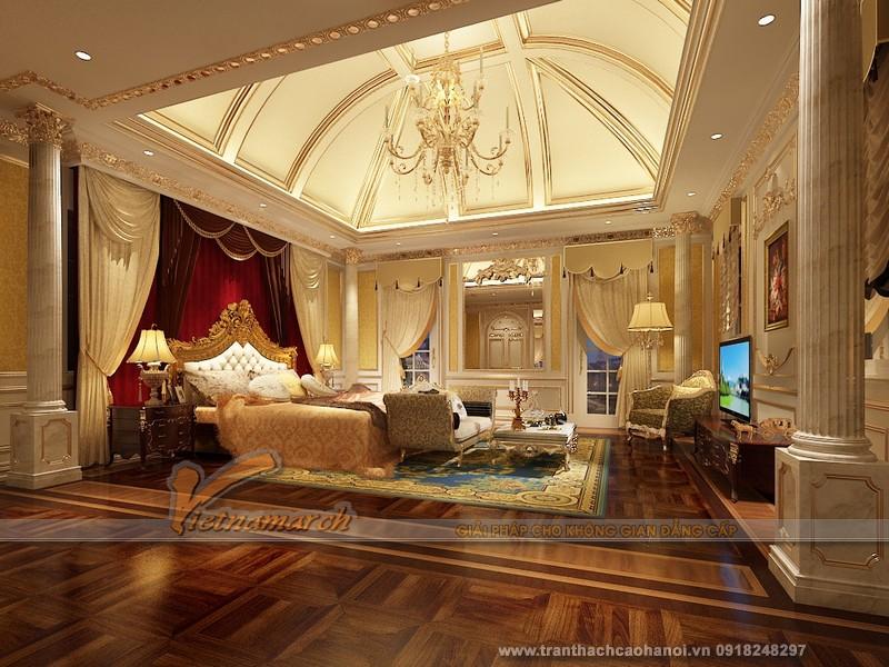 Trang hoàng không gian phòng khách với mẫu trần thạch cao độc đáo cho căn hộ chung cư Goldmark City - 06