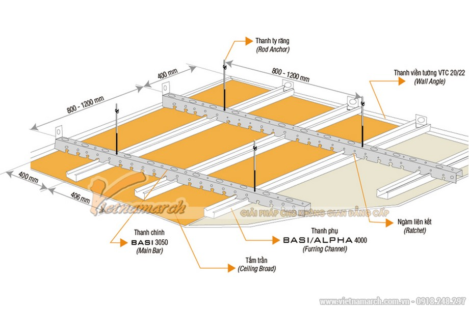 Khung trần thạch cao chìm Basi (khung trung cấp)-02
