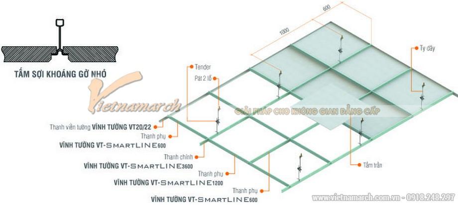 Khung trần thạch cao nổi SmartLine ( Rãnh đen )-03