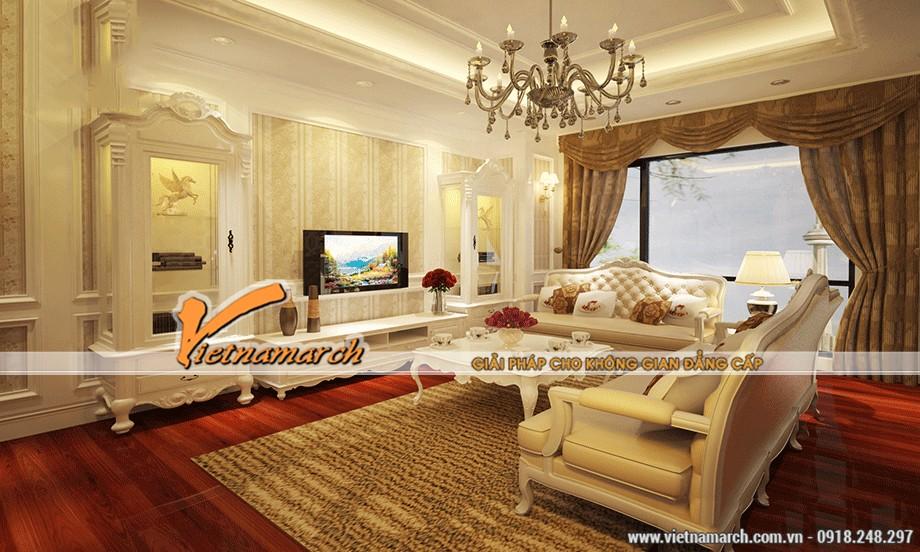 Chiêm ngưỡng mẫu trần thạch cao cổ điển cho phòng khách trong căn hộ Times City – Park Hill-01