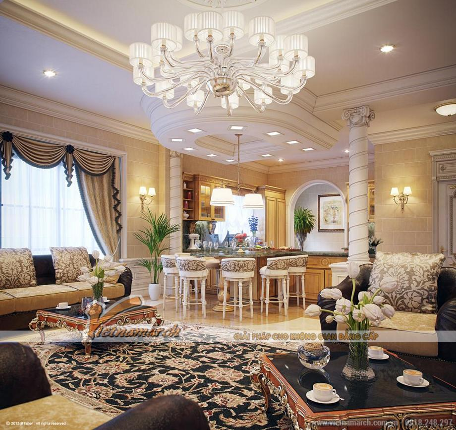 Thiết kế nội thất phòng ăn biệt thự nhà vườn cổ điển tại Phú Yên