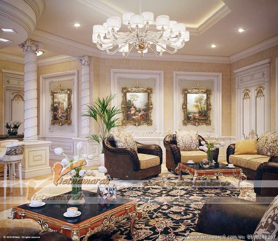 Thiết kế nội thất phòng khách biệt thự nhà vườn cổ điển tại Phú Yên