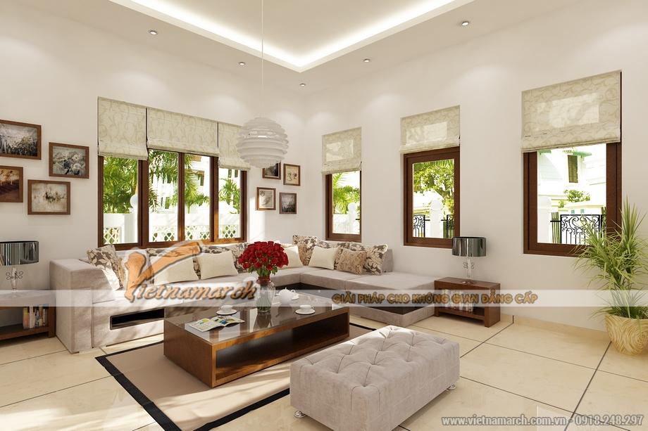 Thiết kế nội thất phòng khách nhà cấp 4 hiện đại 1 tầng tại Long Biên
