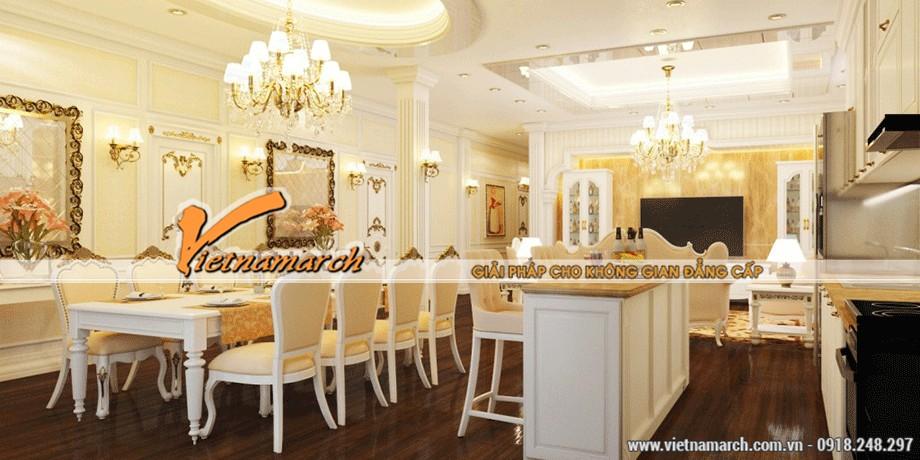 Phòng bếp tại chung cư Time City bền và đẹp sang trọng với trần thạch cao cổ điển chống nước 02