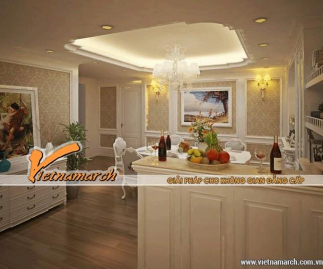 Thiết kế trần thạch cao cổ điển chống nước cho phòng bếp, vừa đẹp vừa bền.