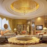 Phòng khách tại chung cư D'.Palais de Louis – Tân Hoàng Minh đẹp sang trọng với trần thạch cao cổ điển