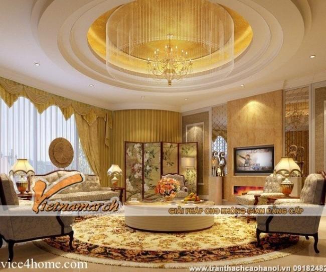 Mẫu trần thạch cao cổ điển phòng khách đẹp và sang trọng tại chung cư D'.Palais de Louis 01